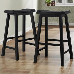 29-Inch Black Saddle Stool, Set of Two